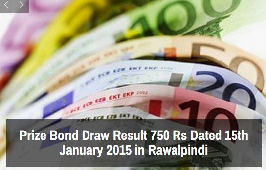 Prize Bond Rs 750 Draw Result 15th January 2015 Rawalpindi
