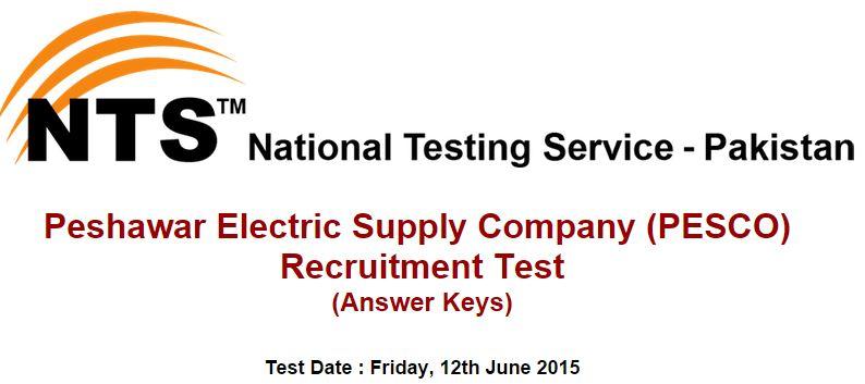 NTS Answer Keys Peshawar Electric Supply Company (PESCO) ( Friday, 12th June 2015 )