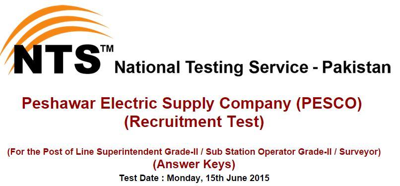 NTS Answer Keys Peshawar Electric Supply Company (PESCO) (Monday, 15th June 2015)