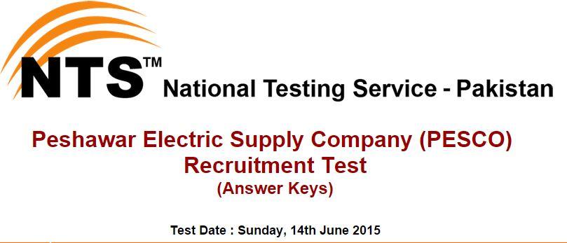 NTS Answer Keys Peshawar Electric Supply Company (PESCO) (Sunday, 14th June 2015)