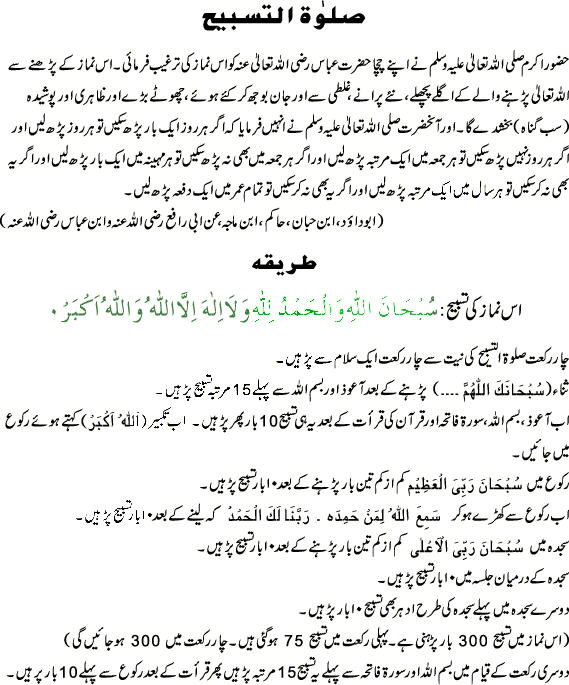 How to perform SALATUL TASBEEH ka tariqa
