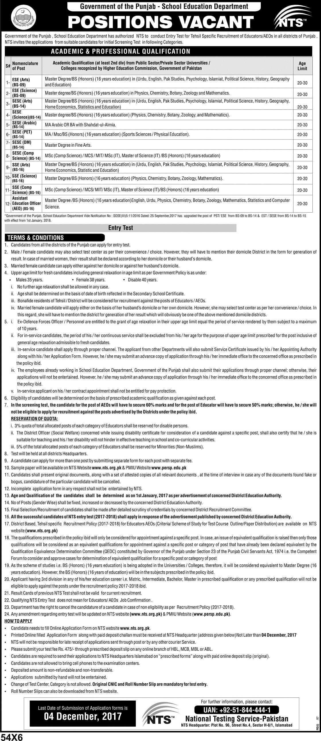 New Educators Jobs 2017 NTS Test Advertisement Apply Online